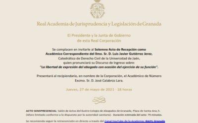 Recepción como Académico Correspondiente del Ilmo. Sr. D. Luis Javier Gutiérrez Jerez